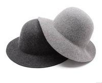 Wholesale Wholesale Felt Wool Womens Hats - Wholesale-Wholesale Style Plain Womens Wool Fedora Floppy Brim Lady Winter Felt Trilby Hats Women Caps Autumn Headwear Ladies Fedoras Cap