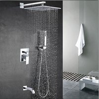 "Wholesale Tub Shower Faucet Rain - Wholesale And Retail Wall Mounted Rain Shower Faucet Set Vavle Mixer Tap Tub Spout W  Hand Shower Sprayer 8""   10""   12""  16"""