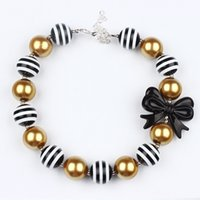 Wholesale chunky bow necklaces - Girl beautiful bow-knot candy Necklace Kids Girls Gold&black Beads Bubblegum Necklace Toddler chunky Princess jewelry photo prop