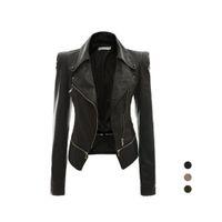 Wholesale Green Pu Leather Jacket - S5Q Womens Slim Handsome Casual PU Soft Leather Zipper Long Sleeve Jacket Coat AAAFTF