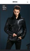 Wholesale B3 Leather Jacket Xl - B3 sheepskin Fur leather Jacket air Bomber Fur coat military pilot boy genuine b-3