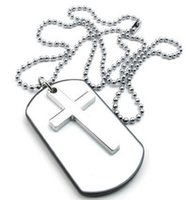 Hommes Womens Army Style Cross Dog Tag Pendentif Collier 27 pouces Chaîne White Silver Drop Shipping
