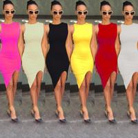 vêtements pour filles achat en gros de-Femmes sexy Split Club Bodycon robes dames filles sans manches hors-épaule Vintage Night Club prom Party Mini robes femmes vêtements Vêtements