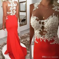 Classy 2018 Mermaid Prom Party Dresses Sheer Jewel Neck Pizzo Appliqued Perle Evening Party Gown Vintage Satin Occasioni Speziali Indossa