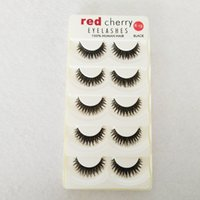 Wholesale Synthetic Hair Extentions - Red Cherry 5 Pairs False Eyelashes K19 Black Cross Natural Long Thick Fake Eye lash Beauty Makeup Tools Extentions High Quality