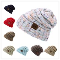 Wholesale Rainbow Knitted Hat - 2017 Winter warm Wool Knit Hats Autumn Fashion CC labeling slouchy Rainbow beanie Warm Thick skullies Casual Knitted Caps FedEx FREE