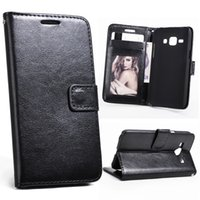 Wholesale Galaxy Cell Phone Wallets - For Galaxy J5 2015 2016 J510 Retro Leather Wallet Cell Phone Case Cover Black With Card Slot Filp Stand Photo Frame for Samsung J500F