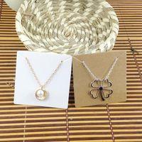 Wholesale Custom Print Paper Bags - Hot White 6.5x6.5cm Kraft Pendant Necklace Card 1lot=100 card +100 opp bag Blank Jewelry Card Custom Logo Cost Extra