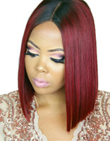 Wholesale Remy Bob Wig - 1b 99j Burgundy Short Bob Brazilian Hair Full Lace Wig With Baby Hair For Black Women