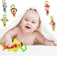 baby rattle ring Canada - Wholesale- Hot Sale New Baby Toys Mobiles Child Cuddle Bed Wind Rattle Rings Animal Toys Baby Newborn Stroller Bed Hanging Plush Toys