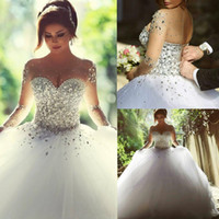 Wholesale Cheap Rhinestone Ball Beads - 2015 Vintage Long Sleeves Wedding Dresses with Rhinestones Crystals Beaded Lace Up Back Ball Gown Plus Size Dress Arabic Bridal Gowns Cheap