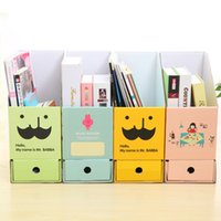 Vente en gros-Creative Box File Paper Drawer Double Beard Diy Desktop Office To The Stationery Organisateur de bureau Containers magasin 24 * 25 * 14 * 22cm