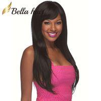 Wholesale human hair weaves for black women resale online - Wigs For Black Women Lace Front Wigs Virgin Unprocessed Hair Weave Human Hair Straight Hair Weaves Natural Color Bellahair