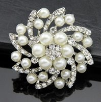 Wholesale Hair Decoration Clips - SALE 10 Rhinestone Brooch Embellishment Crystal Pearl Silver Wedding Brooch Bouquet Cake Decoration Hair Comb Shoe Clip BR527