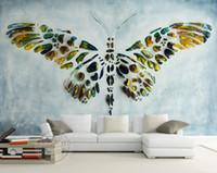 schmetterling tapete für wände designs großhandel-Personalisierte benutzerdefinierte Wandbilder 3D Schmetterling Malerei Tapete Fototapete Raumdekor Schlafzimmer Wohnzimmer Hochzeit Home Interior Design