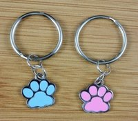 Wholesale Enamel Bone Charms - 50PCS Vintage Silvers Charms Mixed Enamel Dog&Cats Footprints Keychain Ring For Keys Car DIY Bag Key Chain DIY Accessories N1591
