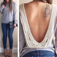 Wholesale Ladies Party Blouses - Hot sale 2015-2016 New Ladies Backless Long Sleeve Evening Cocktail Party Blouse Top Shirt Tee Sexy Women Clothing