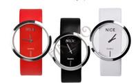 Wholesale Transparent Glass Wrist Watch - Wholesale-10PCS LOT New Fashion Ladies' Watch Simple Transparent Dial Quartz Wrist watch with PU Leather Strap 3 Colors drop Shipping 3362