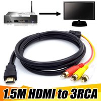 adaptador de cable hdmi rgb al por mayor-5FT 1.5M HDMI a 3 RCA Video AV TV Convertidor de adaptador compuesto 3RCA RGB Cable para XBOX 360 para PS3 4 HDTV 1080