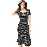 Wholesale Rayon Tunic Xl - New 2015 Womens Belted Elegant Polka Dot Printed Mermaid Tunic Office Work Dress Women Vintage Evening Party Bodycon Dress S9087