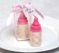 Wholesale Baby Showers Decorations - lots 10pieces baby's bottle candle + gift box ribbon weddding party decoration birthday baby shower gift wedding favor