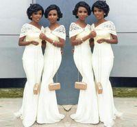bridesmaids lace dress orange NZ - 2017 Elegant Arabic Nigeria Mermaid Cheap Bridesmaid Dresses Wrap Long 2017 Lace Wedding Guest Party Dresses Maid Of Honors