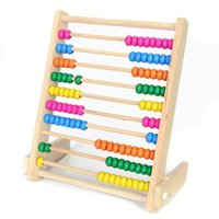 Wholesale Beads For Abacus - Wholesale-Wooden Abacus Educational Toy for Kids, Beads Color: Yellow, Green, Orange, Blue, Shocking Pink