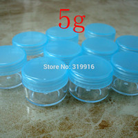 Wholesale Small Plastic Jars Lids - Free shipping 100pc lot 5g blue round small sample plastic bottle jars containers with lids for cosmetic packaging,cream jar