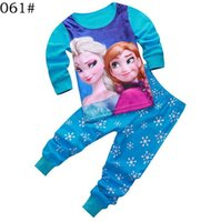 Wholesale Autumn Lovely baby girl casual pajamas snow princess patter kids sleepwear winter warm children clothes set size