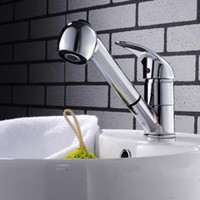 Wholesale Spray Chrome Plated - Basin Baucet Chrome Brass Pull Out Spray Spout Basin Sink Faucet Mixer Tap Single Lever 100%New, Good Quality