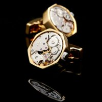 Wholesale Mens Clip Watches - KFLK jewelry shirt cufflins for mens Brand cuff button Gold color watch movement cuff link High Quality abotoadura Free Shipping