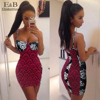 Wholesale Selling Sexy Empire Dress - 2015 New Hot Sell Women Bandage Party Print Mini Dress Sexy Strap Slim Blackless Dresses free shipping 57sf