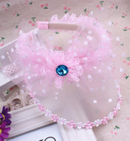 Wholesale Tulle Rhinestone Flower Wholesale - Baby Hats 2015 Summer Korean Girls Lace Bow Flower Rim Hair Accessories Hair Sticks Kids Rhinestone Meshy Tulle Sunbonnet Pink Rose I4243