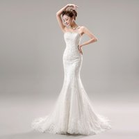 Wholesale Tube Top Slim Wedding Dress - The bride wedding dress formal dress 2015 spring and summer white brief slim short trailing tube top fish tail