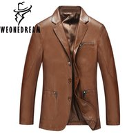Wholesale Men S Leather Overcoat - Fall-2016 New Arrival Men Leather Jackets Man Autumn Motorcycle Leather Coat Casual Solid Fashion Brand Man OuterCoats Overcoat 3XL