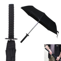 Wholesale Prop Katana - Free shipping Mini Bleach Samurai Katana Kurosaki ichigo Sword Umbrella Cos Props Warrior Ninja Folding Umbrellas