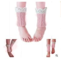 Wholesale trendy knee high boots - Winter Warm Leg Warmers Kids Girls Lace Baby Trendy Knitted Infants Toddlers Trim Boot Cuffs Socks Knee High Christmas Gifts