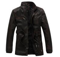 ingrosso uomini di giacca moto nero-New fashion moto biker giacche in pelle multi-cerniera nero uomo giacche in pelle cappotti jaqueta de couro masculina 3XL