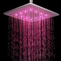 ingrosso pioggia a pioggia a parete-Soffione doccia a pioggia moderno a parete / soffitto con installazione di lampade LED colorate Illuminazione Doccia Accessori bagno
