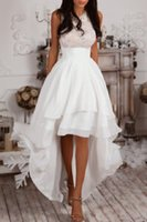 Wholesale bridal gowns south africa - Summer Beach High Low Wedding Dresses Jewel Neck Sleeveless Lace Top Tieres Chiffon Skirts A Line Bridal Gowns South Africa Wedding Gowns LA