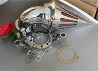 carburador de ar venda por atacado-Peças da motocicleta Kit de filtro de admissão Spike Air Cleaner Para Harley Davidson CV Carburador Delphi V-Twin Chrome