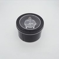 Wholesale Storage Tin Lid - 100pcs Round Tin Box With Transparent Window Lid & Sponge Plain Black Metal Can Storage Case For Watch Gift Boxes