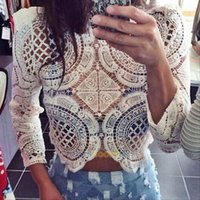 Wholesale Sheer Lace Crochet Top - Fashion Women Sheer Sleeve Embroidery Lace Crochet Shirt Casual Crop Top Blouse