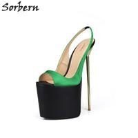 Wholesale Thick Satin Wedding Dresses - Sorbern Unisex Satin Slingbacks Size 40-50 Pump Shoes Peep Toe Slip-on 22cm Extrem High Heels Thick Platforms Celebrity Heels