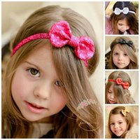 Wholesale Elegant Hair Bows - SALE! 5 colors 100PCS Sequin Bow Baby Headband Girls Hair Bows Elegant Infant Glitter Headband Newborn Photography Props Headwear