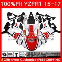 Wholesale Green R1 Fairings - Injection Body For YAMAHA white black YZF 1000 YZF R 1 YZF-1000 YZF-R1 15 17 87NO8 YZF1000 YZF R1 15 16 17 YZFR1 2015 2016 2017 Fairing kit