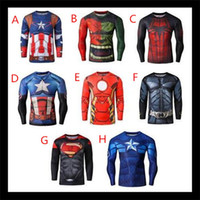 2015 3D Superhero hommes t shirts hommes Spiderman Iron Man Long Sleeve Cycling T-Shirts Pro Tops Slim Fit Sport Workout Excerise chemises