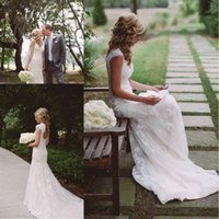 Wholesale Outdoor Country Wedding Dresses   2017 Modest Country Style  Mermaid Lace Wedding Dresses V Neck