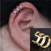 Wholesale Cheap Gold Jewelry China - 6pcs New Punk Rock Ear Clip Cuff Wrap Earrings No piercing-Clip on Silver Gold Bronze Women Men Party Jewelry Gift Cheap Free JE05030