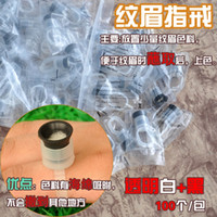 Wholesale Eyebrow Rings For Ink - 100pcs Tattoo Ink Cups Tattooing Plastic Makeup Rings With Sponge For Permanent Makeup Eyebrow Tattoo
